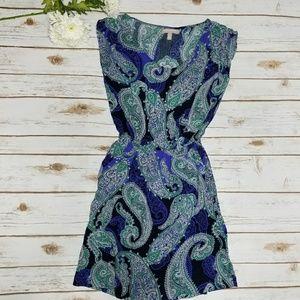 Blue Paisley Mini Romper Dress